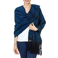 Cotton rebozo shawl, 'Grand Entrance in Blue' - Artisan Crafted 100% Cotton Shawl in Blue and Black