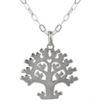 Sterling silver pendant necklace, 'Lovebird Tree' - Mexican Sterling Silver Tree Theme Necklace with Birds