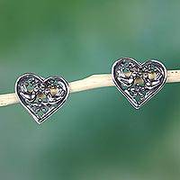 Sterling silver button earrings, 'Lovebird Heart' - Handcrafted Heart Shaped Sterling Silver Bird Earrings