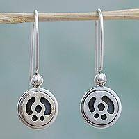 Sterling silver dangle earrings, 'Jungle Life' - Hand Made Sterling Silver Dot Dangle Earrings from Mexico