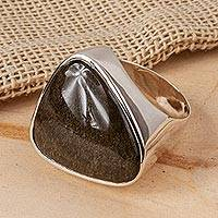 Featured review for Obsidian cocktail ring, Asymmetrical Black