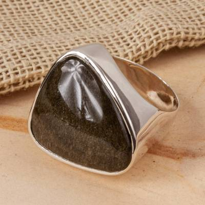 Sleek Contemporary Obsidian Women's Ring in Taxco Silver
