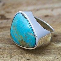 Turquoise cocktail ring, 'Asymmetrical Sea' - Mexican Taxco Silver Handcrafted Turquoise Women's Ring