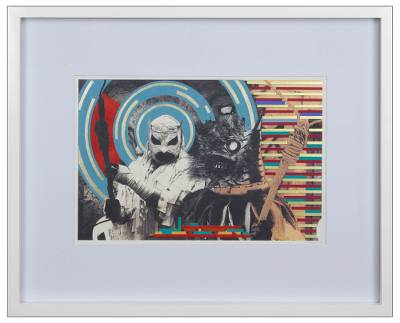 'Battle for the Sky' - Framed Dance Theme Original Mixed Media Collage from Mexico