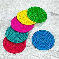 Natural fiber coasters, 'Party Rainbow' (set of 6) - 6 Artisan Crafted Multi Color Palm Coasters Set from Mexico