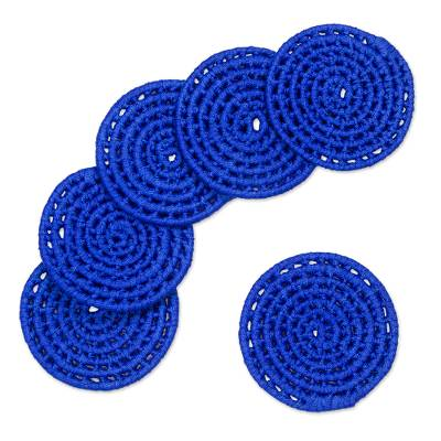 6 Artisan Crafted Round Cobalt Blue Coasters Set from Mexico