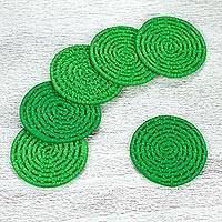 Natural fiber coasters, 'Party Jungle' (set of 6) - 6 Artisan Crafted Round Green Coasters Set from Mexico