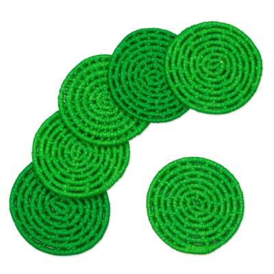 6 Artisan Crafted Round Green Coasters Set from Mexico