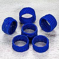 Natural fiber napkin rings, 'Party Cobalt' (set of 6) - 6 Mexican Handcrafted Blue Ribbon and Palm Napkin Rings