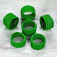 Natural fiber napkin rings, 'Party Jungle' (set of 6) - 6 Handcrafted Green Ribbon and Palm Napkin Rings from Mexico