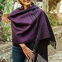 Zapotec cotton rebozo shawl, 'Fiesta in Black and Purple'