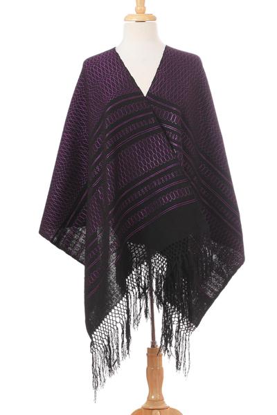 Zapotec cotton rebozo shawl, 'Fiesta in Black and Purple' - Zapotec Handwoven Black and Purple Rebozo Shawl