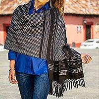 Zapotec cotton rebozo shawl, 'Fiesta in Black and Silver'