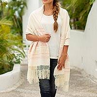 Zapotec cotton rebozo shawl, 'Pink Stars of Teotitlan'
