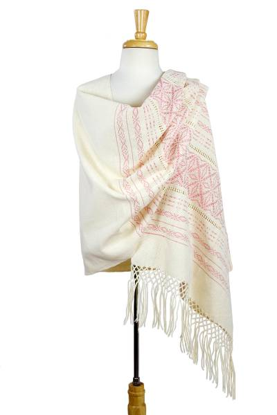 Zapotec cotton rebozo shawl, 'Pink Stars of Teotitlan' - Pink and Creamy Cotton Handwoven Zapotec Shawl