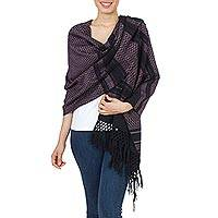 Zapotec cotton rebozo shawl, 'Fiesta in Black and Rose'