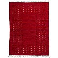 Zapotec wool rug, 'Fire in the Sky' (5x8) - 5 by 8 Foot Handwoven Modern Red Zapotec Rug