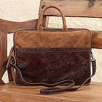 Leather laptop case, 'Cyber Bohemian' - Mexican Leather Brown Laptop Case with Multiple Pockets