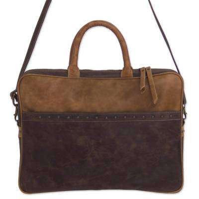 Mexican Leather Brown Laptop Case with Multiple Pockets