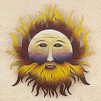 Steel wall sculpture 'Bearded Sun' - Hand Made Steel Wall Sculpture of Sun Face from Mexico