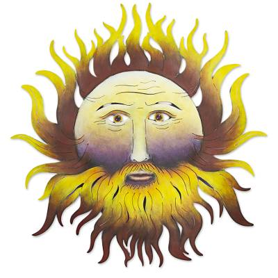 Hand Made Steel Wall Sculpture Of Sun Face From Mexico Bearded Sun Novica