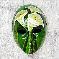 Papier mache mask, 'Spirit of the Lily' - Signed Handcrafted Modern Mexican Papier Mache Mask
