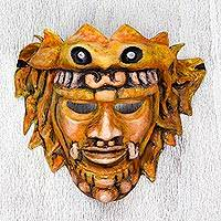 Papier mache mask, 'Kukulkan in Stone' - Papier Mache Plumed Serpent Mask from Mexico