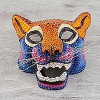 Papier mache mask, 'Oceotl' - Signed Papier Mache Spotted Jaguar Mask from Mexico