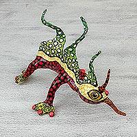 Papier mache Alebrije sculpture, 'Phantasmagorical Gecko' - Mexican Alebrije of Scary Gecko Handmade Papier Mache
