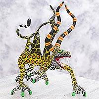 Alebrije sculpture, 'Phantasmagorical Leopard' - Surreal Leopard Alebrije Artisan Crafted Paper Sculpture