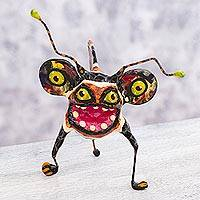 Papier mache alebrije sculpture, 'Phantasmagorical Tiger' - Alebrije Hand Crafted Paper Multicolor Sculpture Tiger Bug