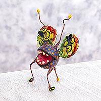 Alebrije sculpture, 'Multi-Eyed Bug IV' - Mexican Alebrije Hand Crafted Paper Multicolor Sculpture