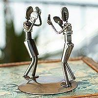 Recycled auto part sculpture, 'Rustic Boxing Match'