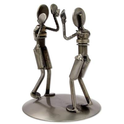 Recycled auto part sculpture, 'Rustic Boxing Match' - Rustic Sculpture Depicting Boxers in Recycled Auto Parts