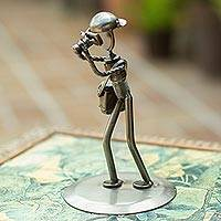 Upcycled auto part sculpture, 'Rustic Photographer' - Rustic Photographer Handcrafted Recycled Auto Part Sculpture
