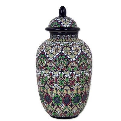 Hand Made Decorative Jar Floral Motifs from Mexico