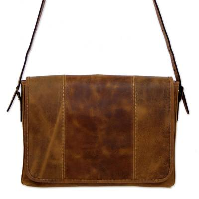 Distressed Brown Leather Boho Style Laptop Case with Pockets