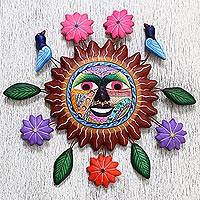 Ceramic wall sculpture, 'Warm Sun of Life' - Hand Made Ceramic Wall Sculpture Smiling Sun from Mexico