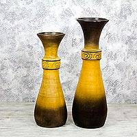 Ceramic decorative vases, 'Coffee and Sunshine' (pair) - Set of Two Ceramic Decorative Vases from Mexico