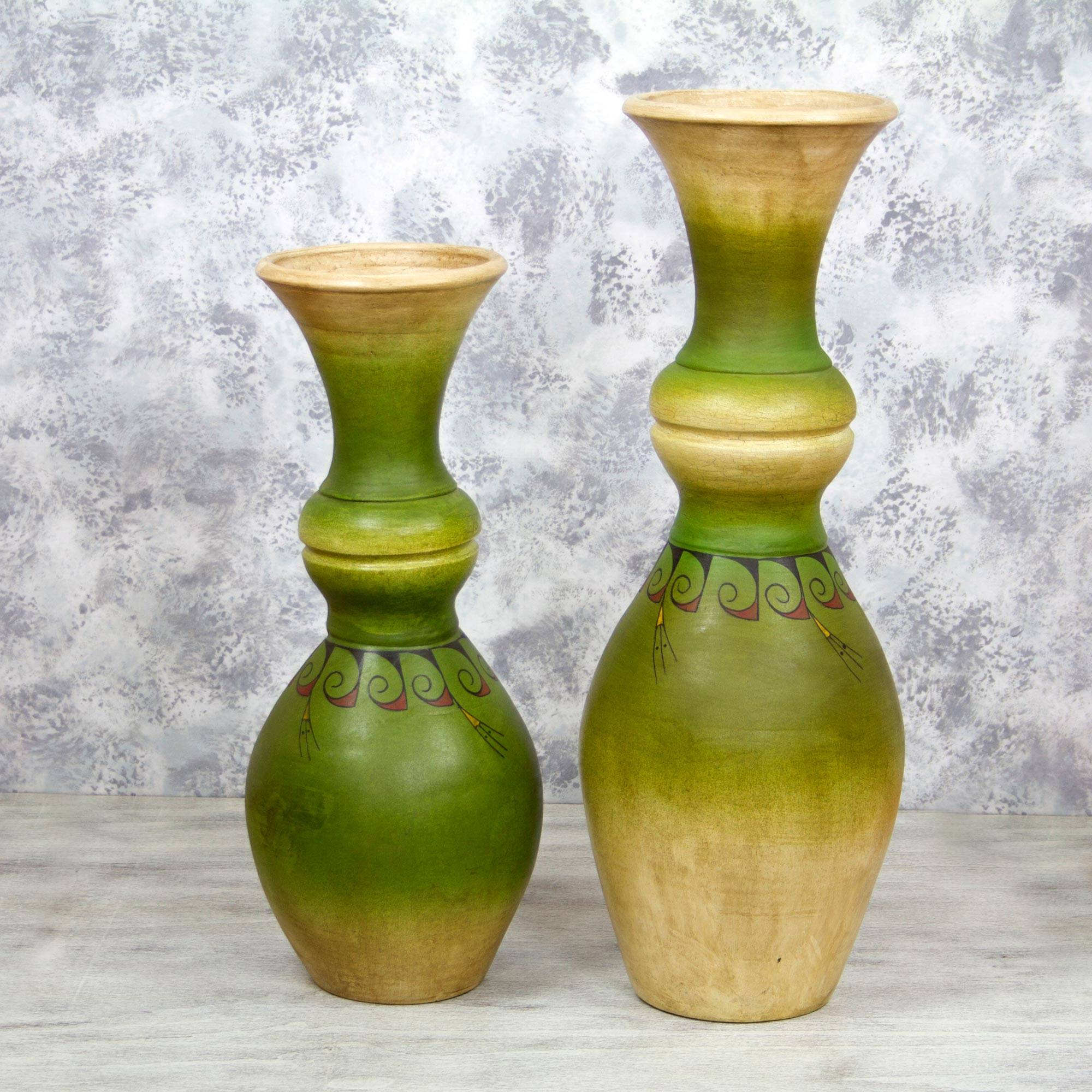 Pear Motif Decorative Ceramic Vases In Green (Pair), U0027Ripe Pearsu0027