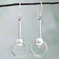 Silver dangle earrings, 'Elegant Movement' - 950 Silver Trademarked Circular Dangle Earrings from Mexico