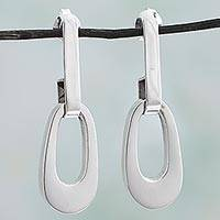 Silver drop earrings, 'Beautifully Abstract' - 950 Silver Contemporary Drop Earrings from Mexico
