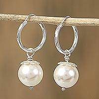 Faux pearl hoop earrings, 'Flower Bud' - Swarovski Pearl Sterling Silver Dangle Earrings from Mexico
