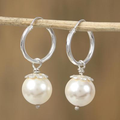 Faux Pearl Hoop Earrings Flower Bud Swarovski Sterling Silver Dangle