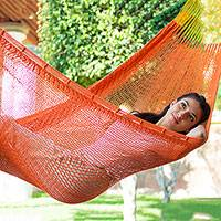 Cotton rope hammock, 'Mango Paradise' (single) - Solid Maya Orange Hand Woven Cotton Hammock (Single)