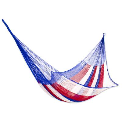 Hammock, 'Patriotic' (single) - Red White and Blue Hand Woven Nylon Maya Hammock (Single)