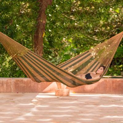 Hammock, 'Mossy Mountain' (single) - Hand Woven Single Hammock Moss Green Burnt Sienna Mexico