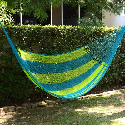 Hammock, 'Neptune' (single) - Hand Made Nylon Single Hammock with S-Hooks from Mexico