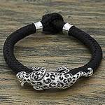 Hand Made Leather Sterling Silver Braided Bracelet Mexico, 'Life of the Jaguar'