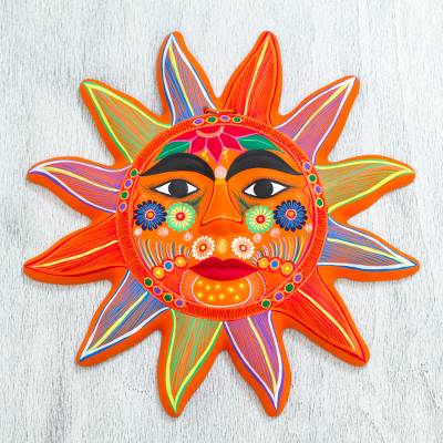 Ceramic wall art, 'Splendid Sun' - Hand Crafted Ceramic Wall Art Sun Motif from Mexico